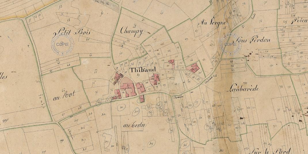 Cadastre du secteur datant de 1819